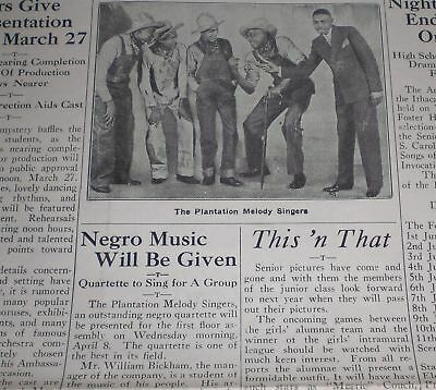 Plantation Melody Singers Negro Spiritual African American Ithaca NY Newspaper