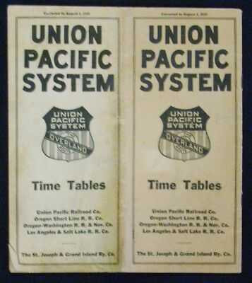 Vintage August 1, 1925 Union Pacific System Time Table