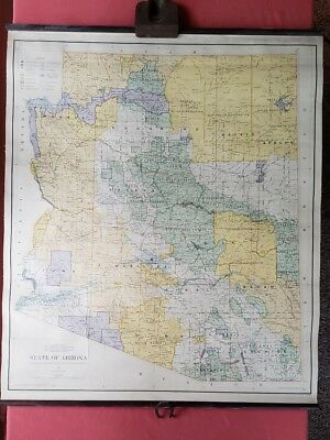 1953 Vintage Arizona Department Of The Interior Map Indian Reservations & Rr