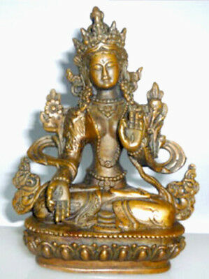 Old Tibetan Buddhism Bronze Kwan-yin White Tara Buddha Statue Height 13cm