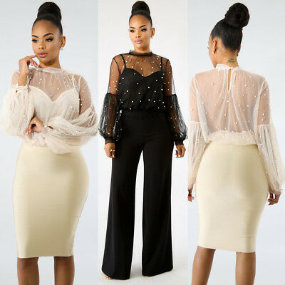 4f14925a2db3 Sexy Women Mesh Sheer Long Puff Sleeve Top Pearl Blouse Shirt Clubwear Party