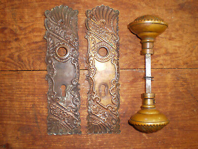 Beautiful Pair Antique Art Nouveau Ornate Brass Door Knobs and Back Plates