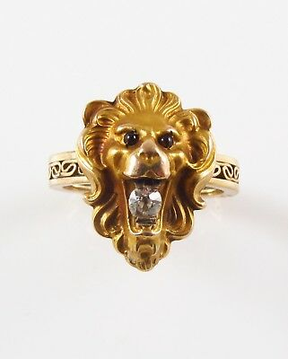 Antique 14k Gold Art Nouveau Garnet Eyed Roaring Lion Cat Diamond Ring Size 4.25