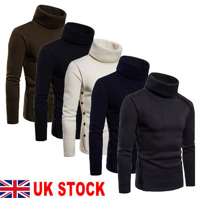 New Mens Roll Neck Long Sleeve Cotton Top Neck Turtle Neck Basic T Shirts Uk