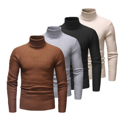 US Mens Thermal High Collar Turtle Neck Fashion Sweater Stretch Pullover Shirts