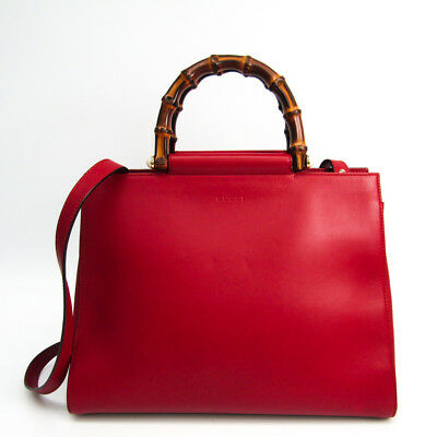 a792535ffe4 Gucci Bamboo Nymphaea Medium 453766 Leather Tote Bag Red BF327006