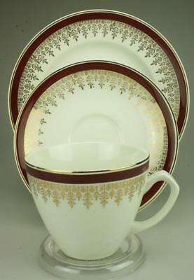Vintage Trio Royalty Maroon by Myott Staffordshire Cup Saucer & Side Plate CS2a