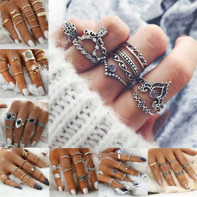 3/5/7/15pcs Silver Midi Finger Ring Set Vintage Punk Boho Knuckle Rings Jewelry