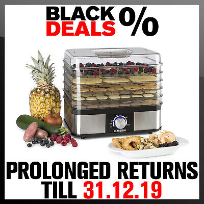 Food Dehydrator Fruit Drying Machine Electric Beef Jerky Stainless Steel 5 Tray