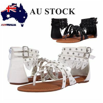 AU FREE SHIP Ladies Gladiators Wedding Sandals Rhinestone Flats Flip Flop Size