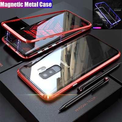 For Samsung Galaxy S9 S8 Plus Magnetic Absorption Temper Glass Metal Bumper Case