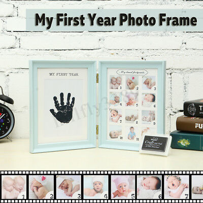 Photo Picture Frame Poster Room Baby First Year 12Month Newborn Footprint Record