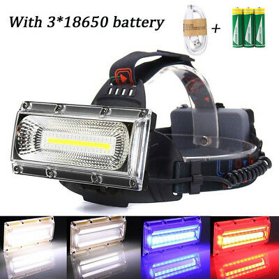 LED COB USB Rechargeable 18650 Headlamp Headlight Fishing Torch Flashlight Light