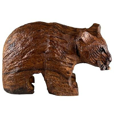 """Hand Carved Wood Wooden Ironwood Bear With Fish Figurine 3.25"""" Long Made In USA"""