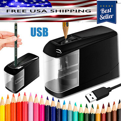 Electric Pencil Sharpener Automatic Battery Operated Powered USB Desktop Small