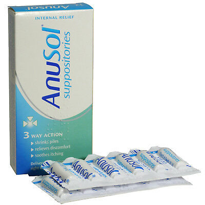 Anusol Suppositories Haemorrhoids Soothing Shrinks Piles 3 Way Action - 12 Pack