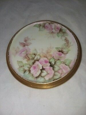 Antique M and Z Austria Hand Painted Teapot Coaster Under Plate or Tile Signed