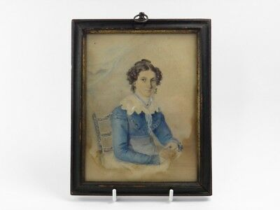 Antique 19th century portrait miniature watercolour painting Miss Harriet Eyre