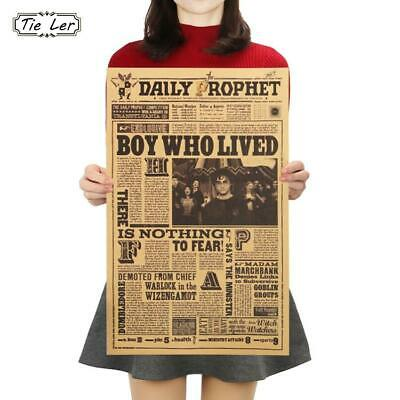 TIE LER Classic Movie Kraft Paper Poster Harry Potter Daily Prophet Wall Stic...