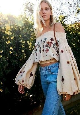 cec87daaf4758 NWT Free People Saachi Smocked Top Embroidered Off Shoulder Shirt Neutral  XS S M