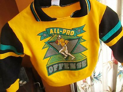 SMALL 4T 4 T  True Vtg 80's Boys HOT YELLOW FOOTBALL PRINT SWEAT T-SHIRT