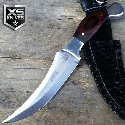 Tactical SURVIVAL Hunting Combat BOWIE Wood Fixed Blade FULL TANG Knife + Sheath