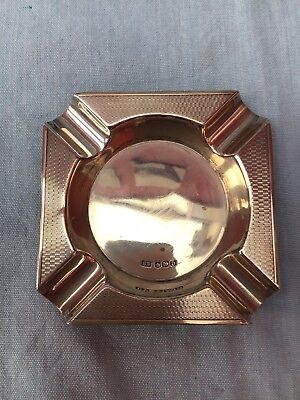 Art Deco VINERS sterling Silver Engine Turned Ashtray HM Sheffield 1946 76g