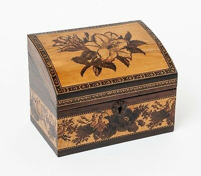 An Antique Tunbridge Ware Marquetry Floral Inlaid Dome Topped Writing Box c1860