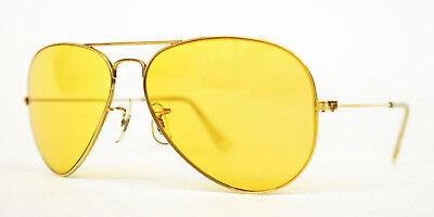 db9c949a69 Vintage Ray-Ban Bausch   Lomb Ambermatic Yellow Shooter Aviator Sunglasses  58 14