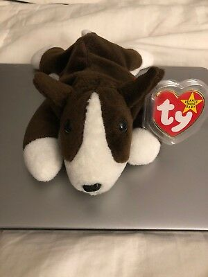 "Authentic Ty Beanie Baby ""Bruno"" - With Errors MWMT Rare PVC Pellets"