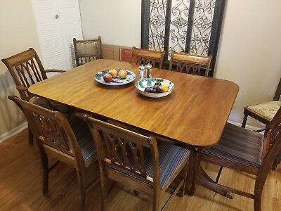 Vintage DUNCAN PHYFE Mahogany Dining Room Set - Table - 6 Chairs -