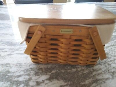 Longaberger Home Office Basket with liner protector lid RARE MINT FREE SHIPPING!