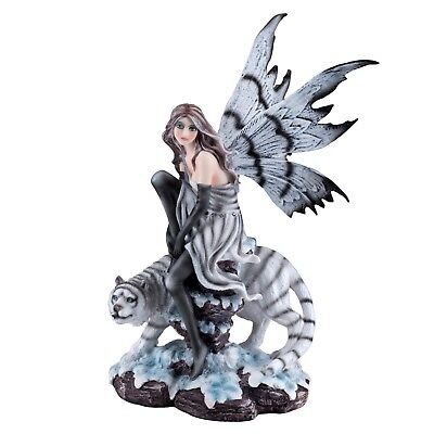 "Fairy With White Tiger Figurine Statue 10.25"" High Detailed Resin New In Box!"