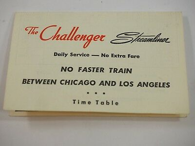 The Challenger Streamliner Train between Chicago and los Angeles Timetable 1954