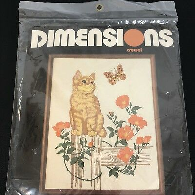 DIMENSIONS Crewel CAT BUTTERFLY