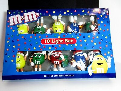 M&M's 10 Light Set CHRISTMAS w/ Santa Hats -- Official Licensed Product - MM0107