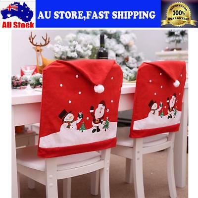 Christmas Chair Covers Dinner Table Santa Hat Home Decorations Ornaments AUSTORE