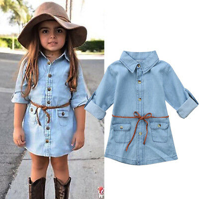 UK STOCK Baby Toddler Kids Girl Denim Dress Long Sleeve Party Princess Dresses