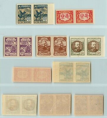 Central  Lithuania  1921  SC  53-58 MNH pairs. rtb161