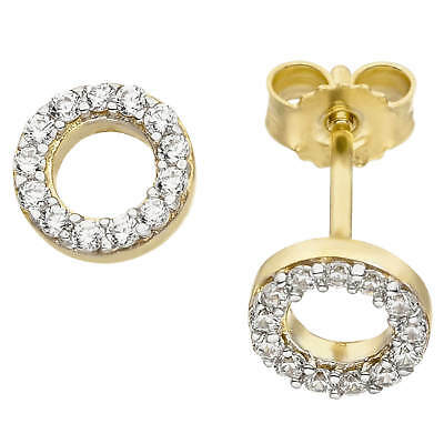 Ear Stud Earring, Ring-Shaped with Zirconia, round, 375 Gold Yellow Bicolour