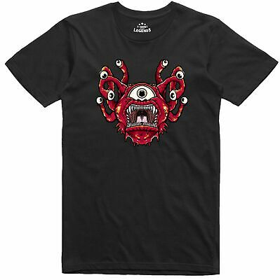 Beholder Dungeons and Dragons Monster Retro Men's Regular Fit Black T Shirt
