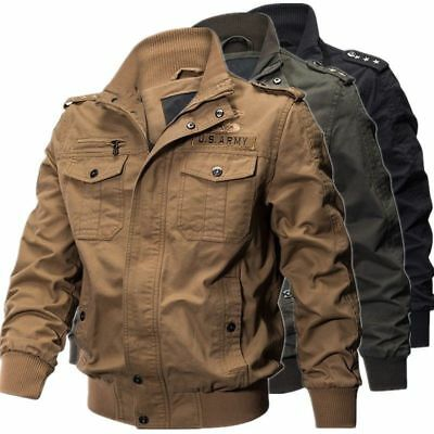 Herren Military Cotton Jacket Pilotenjacke Casual Kragen Herbst Winter jacke Neu