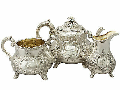 Victorian English Sterling Silver Three Piece Tea Set