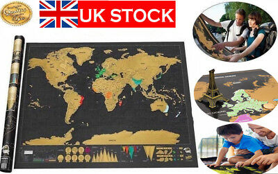 2018 Scratch Off World Map Deluxe Travel Log Journal Poster Wall Decor UK