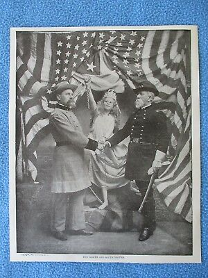 """1899 Spanish American War Print - """"The North And South United"""" - FRAME IT"""