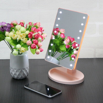 Makeup Mirror USB Lighted Vanity Mirror with 16 LED lights & Touch Screen Dim Up