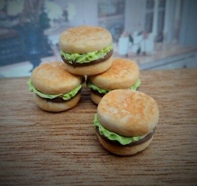 Dolls House Miniature Food Handmade * 4 X Lettuce Burgers * Combined P+P