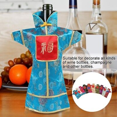 10Pcs Chinese Style Silk Brocade Dress Wine Bottle Covers for Dinner Party Gift