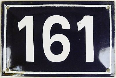 Old blue French house number 161 door gate plate plaque enamel steel metal sign