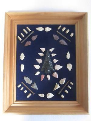 45 Framed Native American Indian Artifacts, Beads, Arrowheads - 17-1/4 X 14-1/4